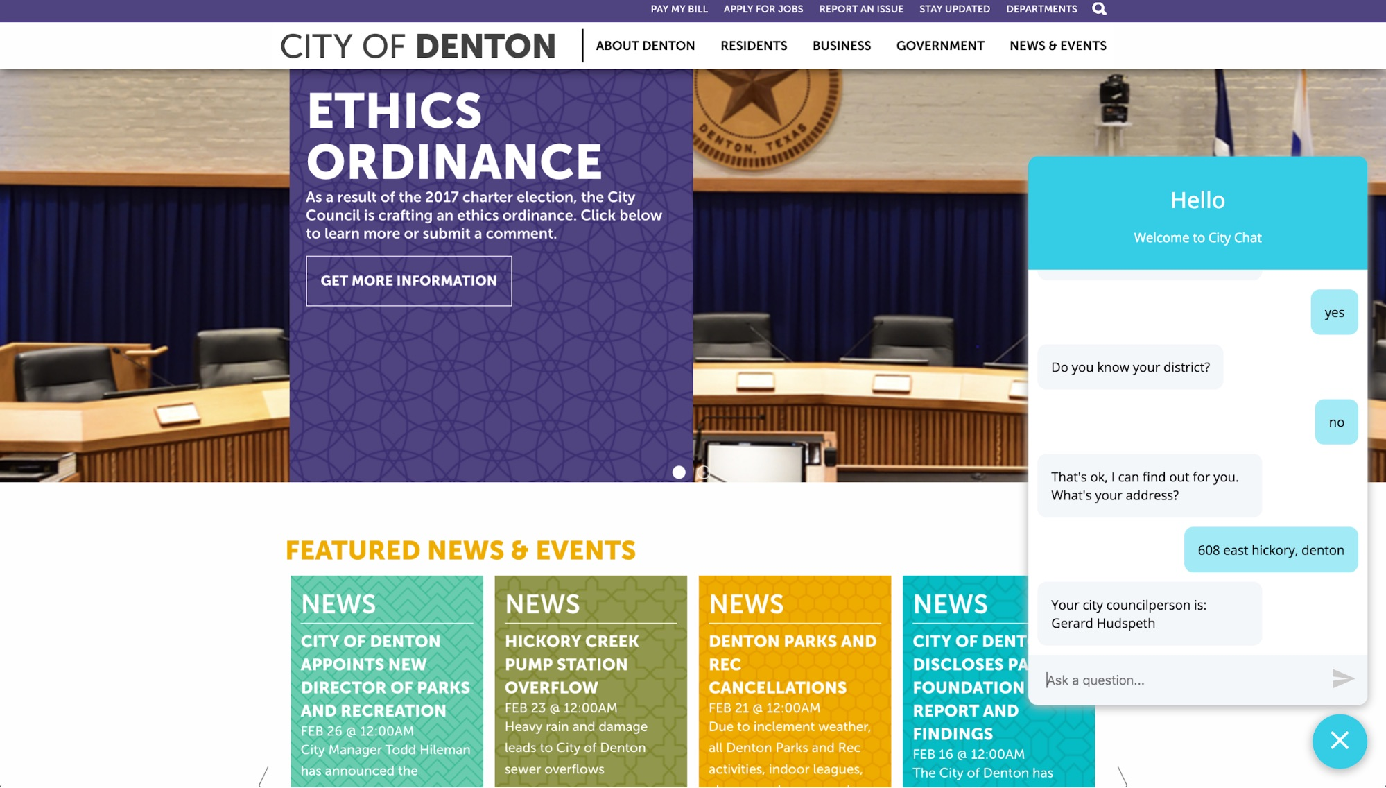 A screen capture of the chatbot demo on a City of Denton website.